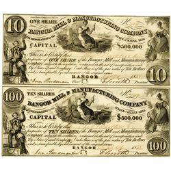 Bangor Mills & Manufacturing Co., 1838 I/U uncut Pair $10-$100.
