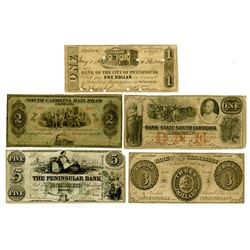 Virginia, Tennessee, South Carolina and Michigan Obsolete Banknote Quintet ca.1855 to 1878.