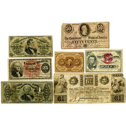 Mixed Issuers. 1850s-1860s. Lot of 7 Obsolete & Fractional Notes.