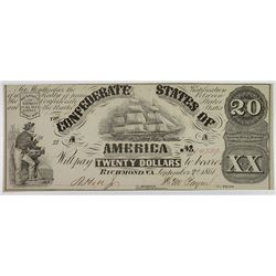 C.S.A., 1861, $20 Banknote.