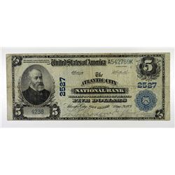 Atlantic City National Bank, $5, 1902 PB, Ch# 2527, Elliot | Burke Signatures.