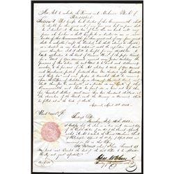 Farmer and Mechanics Bank of Philadelphia, 1843 Corporate Re-charter.
