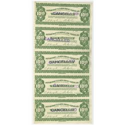 Pittsburgh Clearing House 1933 Depression Scrip Uncut Proof Sheet Pair of 5 notes Each.