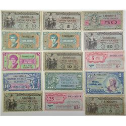 United States Military. 1947-1968. Lot of 15 Issued Notes.