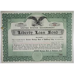 U.S. Government, Liberty Loan Bond receipt dated 1917 from German Savings Bank.
