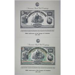 ABNC 50 Pesos Reprint Souvenir Pair of Progress & Error Proofs from 1992 Centennial of 500th Anniver