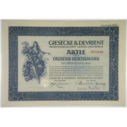 Giesecke & Devrient 1939 I/C Bond From this famous German Security Printer