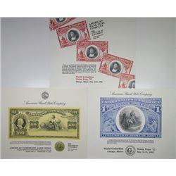 Intaglio Printed Trio of Philatelic & Numismatic Souvenir Cards featuring Christopher Columbus, 1992