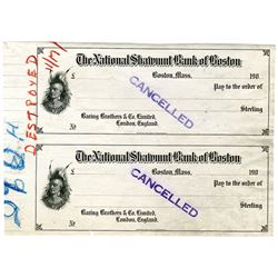 National Shawmut Bank of Boston, 190x Uncut Proof Draft Pair.