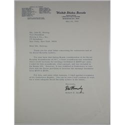 United States Senate Committee on Labor & Public Welfare letter signed by Robert F. Kennedy, 1968