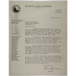 Letter from Thomas J. Watson to Willis K. Whitney Regarding George Eastman, 1931
