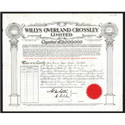 Willys Overland Crossley Limited, 1933 I/U Stock Certificate.