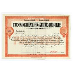 Consolidated Automobile Co., ca.1916-20 Specimen Stock Certificate