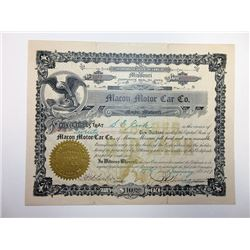 Macon Motor Car Co. 1917 I/U Stock Certificate.