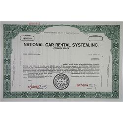 National Car Rental System, Inc., 1968 Specimen Stock Certificate