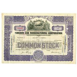 Checker Cab Manufacturing Corp. 1943 I/C Stock Certificate