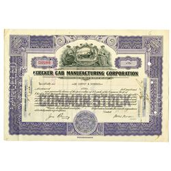 Checker Cab Manufacturing Corp. 1943 I/C Stock Certificate