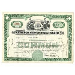 Checker Cab Manufacturing Corp. 1957 I/C Stock Certificate