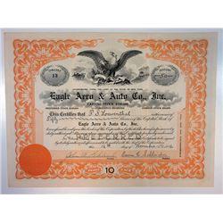 Eagle Aero & Auto Co. Inc., 1916 I/U Stock Certificate