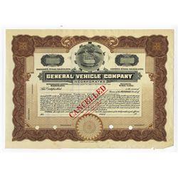 General Vehicle Co., 1900-1920s Specimen Stock Certificate