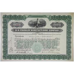 H.H. Franklin Manufacturing Co. 1921 I/U Stock Certificate