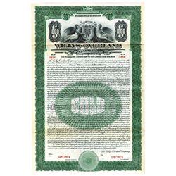 Willys-Overland Co., 1923 Specimen Bond
