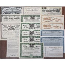 Transportation Related Stock Certificate Assortment of I/C & I/U Certificates, ca.1860-1947.