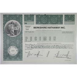 Berkshire Hathaway Inc. 1989 Specimen Stock Certificate