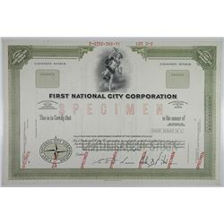 First National City Corp. 1971 Specimen Stock Certificate