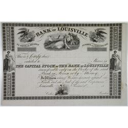 Bank of Louisville 1830-40s Proof Stock Certificate