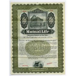 Mutual Life Insurance Co. of New York, 1909 Specimen Bond