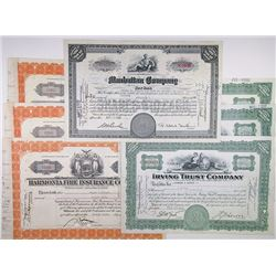 Various New York Banking and Financial Company Cancelled Stock Certificates, 1931-1945