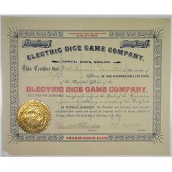 Electric Dice Game Co. 1893 I/U Stock Certificate