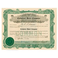 Cathedral Hotel Co., 1926 Issued Stock Certificate