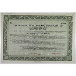 Telex Radio & Television, Inc. 1940 Specimen Bond