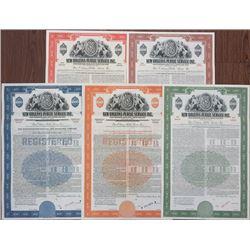 New Orleans Public Service Inc. 1944-53 Specimen Bond Quintet