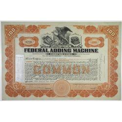 Federal Adding Machine Corp. 1922 I/U Stock Certificate