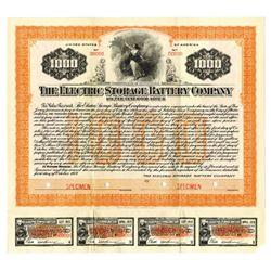 Electric Storage Battery Co., 1917 Specimen Bond