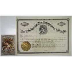 Tolu Rock & Rye Co. of Chicago, 1881 I/U Stock Certificate with Advertisement