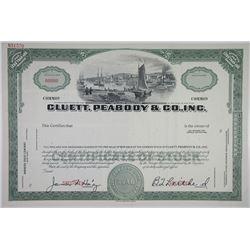 Cluett, Peabody & Co., Inc. 1940-50's Specimen Stock Certificate