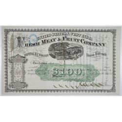 United States & West India Fresh Meat & Fruit Co. 1869 U/C Stock Certificate