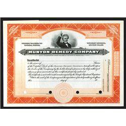Munyon Remedy Co. 1900-1920 Specimen Stock Certificate.