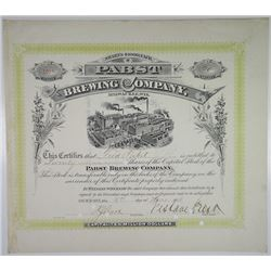 Pabst Brewing Co. 1908 I/C Stock Certificate ITASB Fred Pabst, Jr and Gustave Pabst.