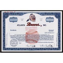 Atlanta Braves, Inc., 1960-70's Specimen Baseball Stock Certificate.