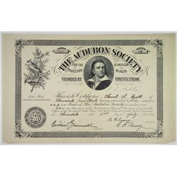 Audubon Society, For the Protection of American Birds, 1886 Issued Membership Certificate.