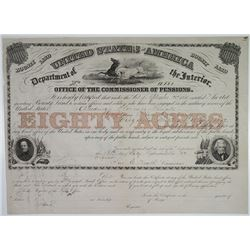 U.S.A. Office of the Commissioner of Pensions 1851 I/C Certificate for 80 Acres