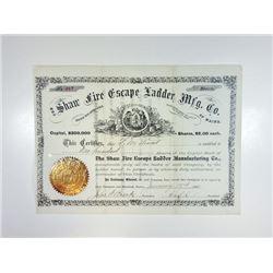 Shaw Fire Escape Ladder Mfg. Co. 1883 I/U Stock Certificate.