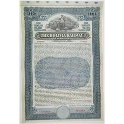 Bolivia Railway Co. 1907 Specimen Bond Rarity