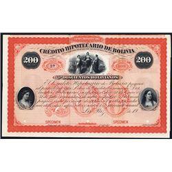 Credito Hipotecario De Bolivia 1900-1920 (using and 1870 to 1880 Bond Design) Specimen Bond.