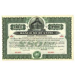 Banco Mercantil, ca.1910-1920 Specimen Bond